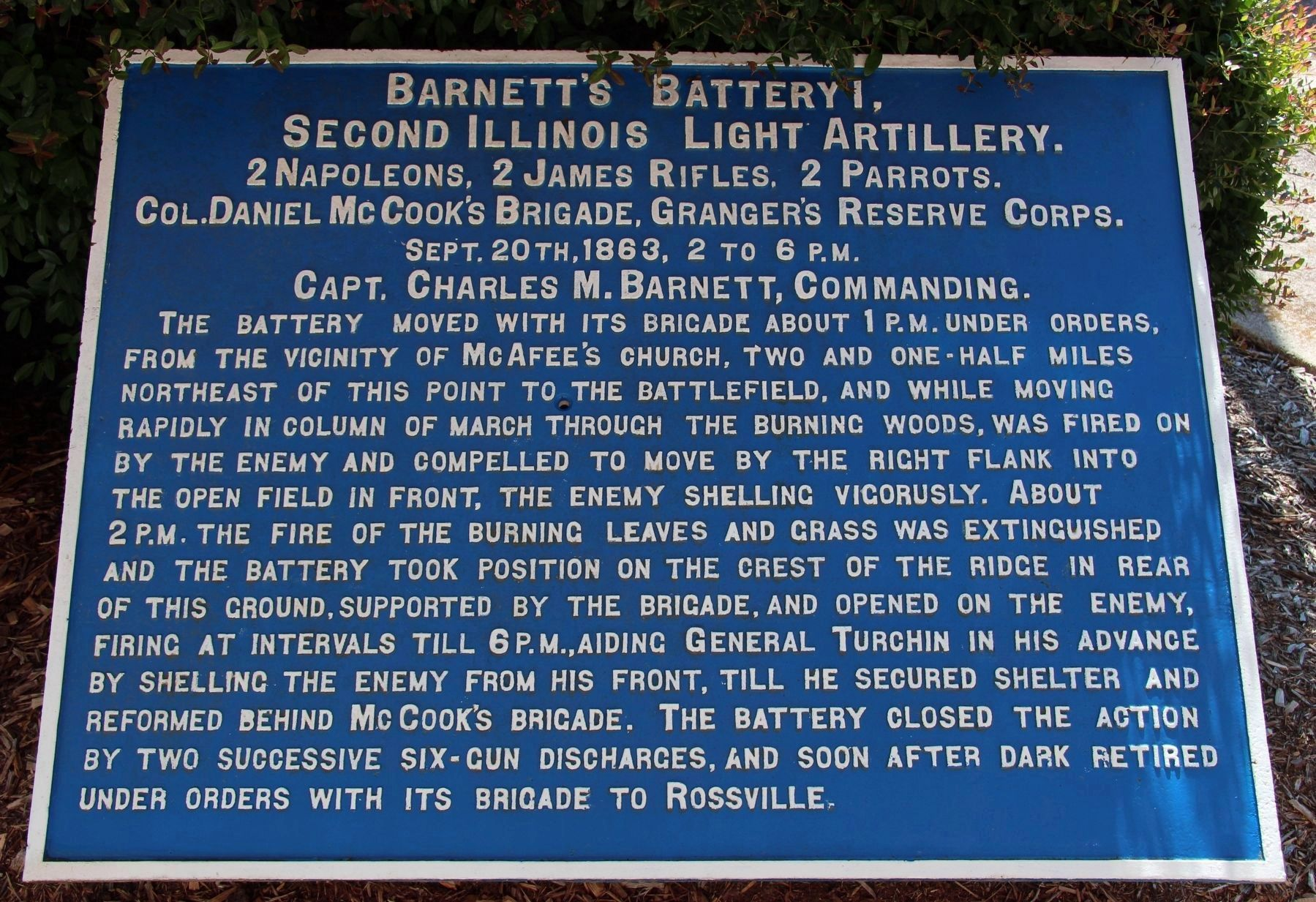 Barnett's Battery I, 2nd Illinois Light Artillery Marker image. Click for full size.