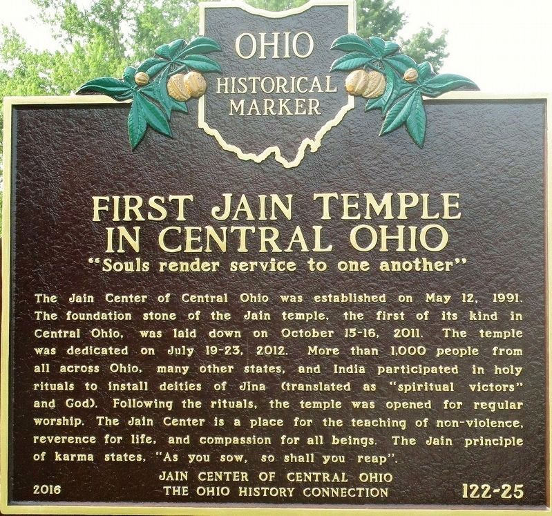 First Jain Temple in Central Ohio Marker image. Click for full size.