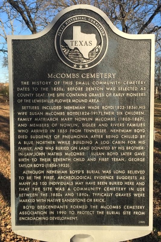 McCombs Cemetery Texas Historical Marker image. Click for full size.