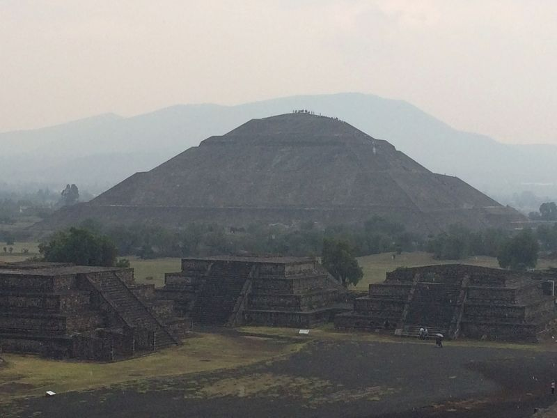 The Pyramid of the Sun seen from the top of the Pyramid of the Moon. image. Click for full size.