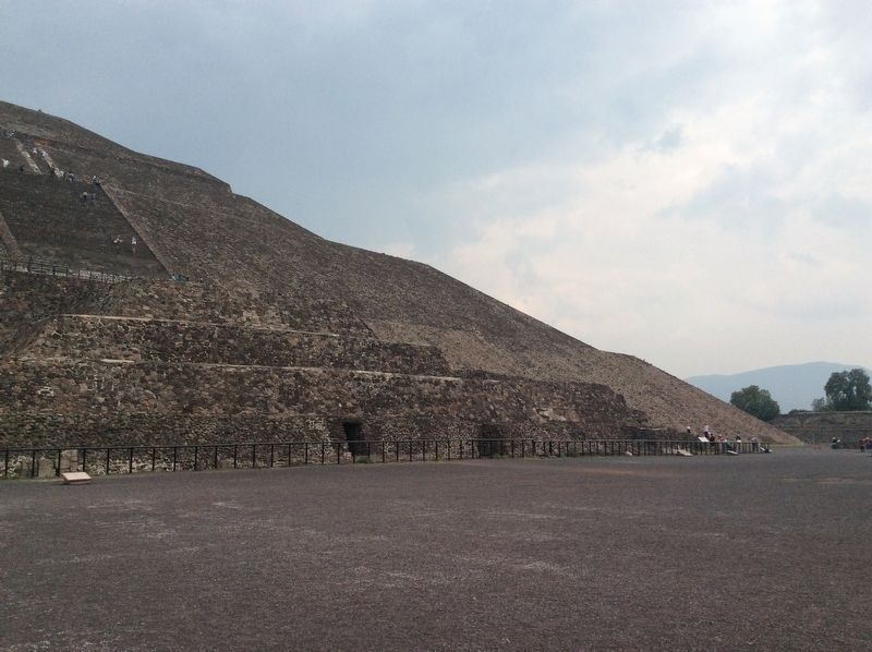 The Pyramid of the Sun showing some of the tunnels used by investigators. image. Click for full size.