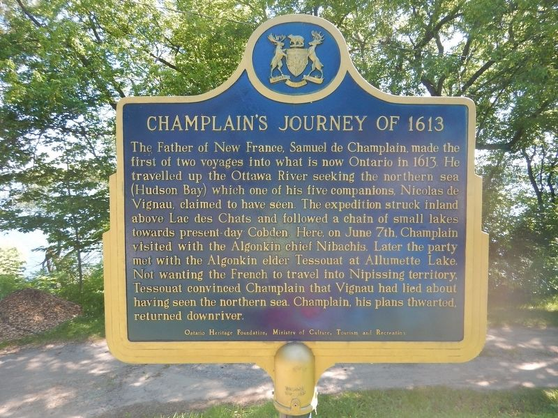 Champlain's Journey of 1613 Marker image. Click for full size.
