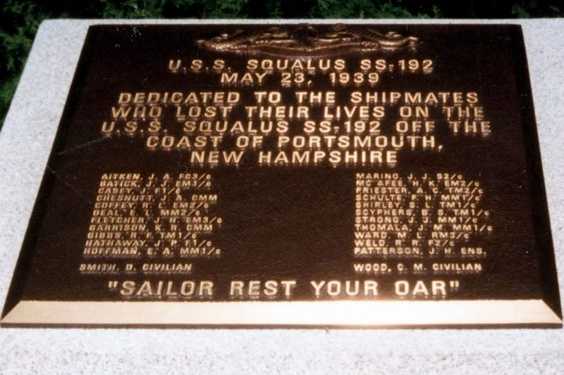 U.S.S. Squalus SS-192 Marker image. Click for full size.