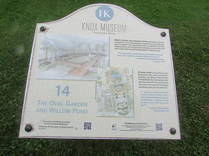 The Oval Garden and Willow Pond Marker image. Click for full size.