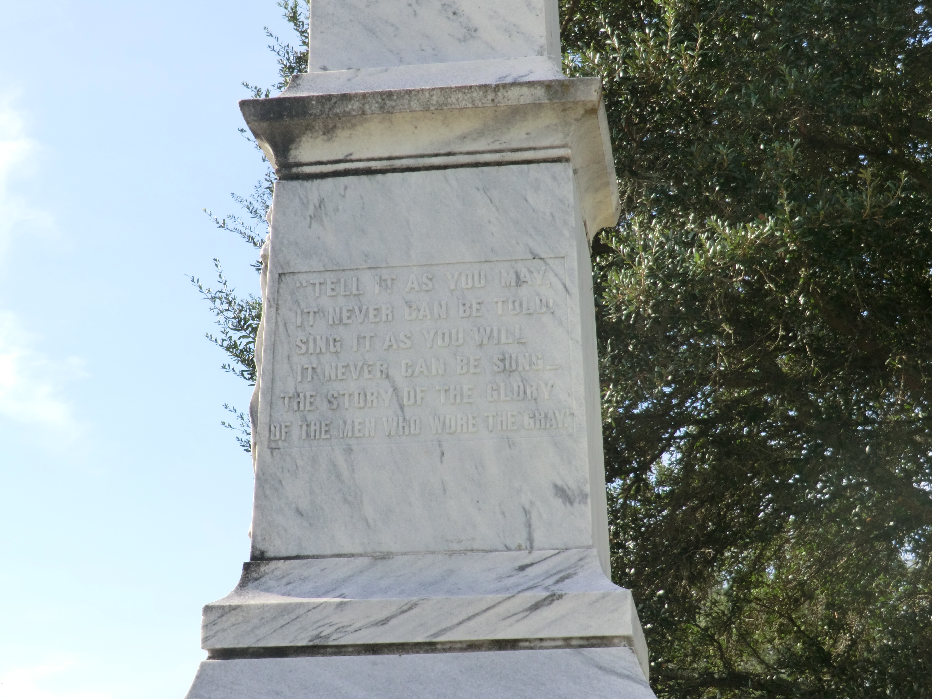 Confederate Memorial Marker-Close up of the front panel