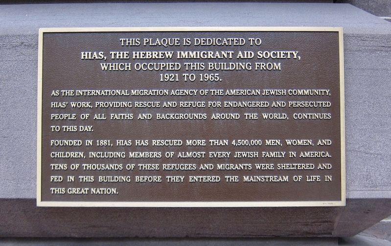Hebrew Immigrant Aid Society Marker image. Click for full size.