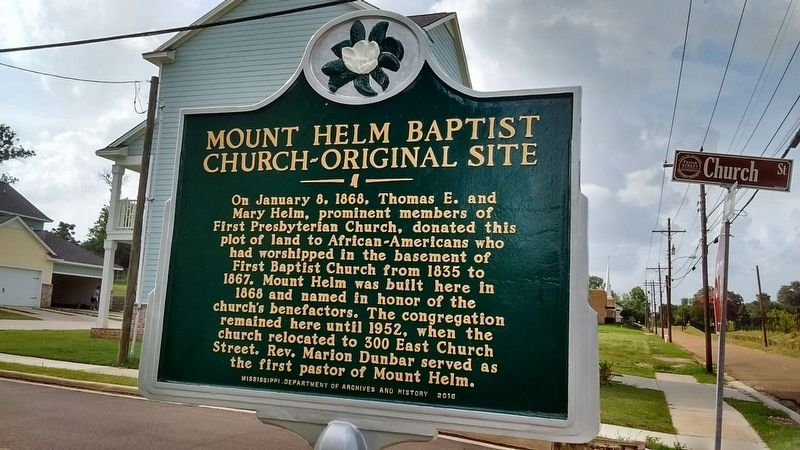 Mount Helm Baptist Church - Original Site Marker image. Click for full size.