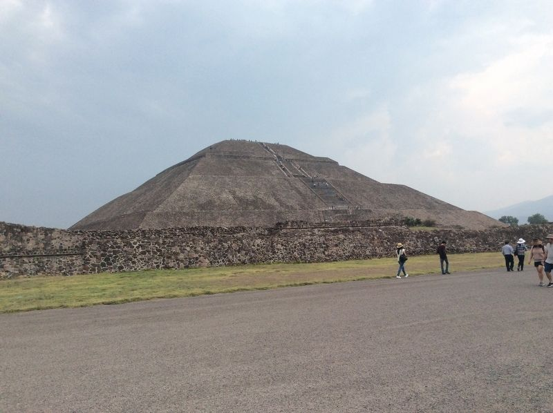 The Pyramid of the Sun, seen towards the east from the Calzada de los Muertos. image. Click for full size.