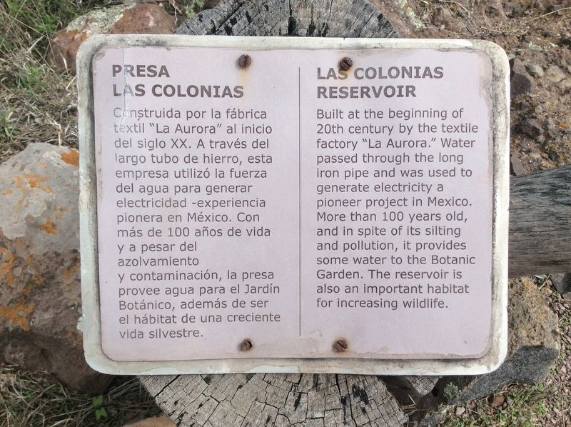 Las Colonias Reservoir Marker image. Click for full size.
