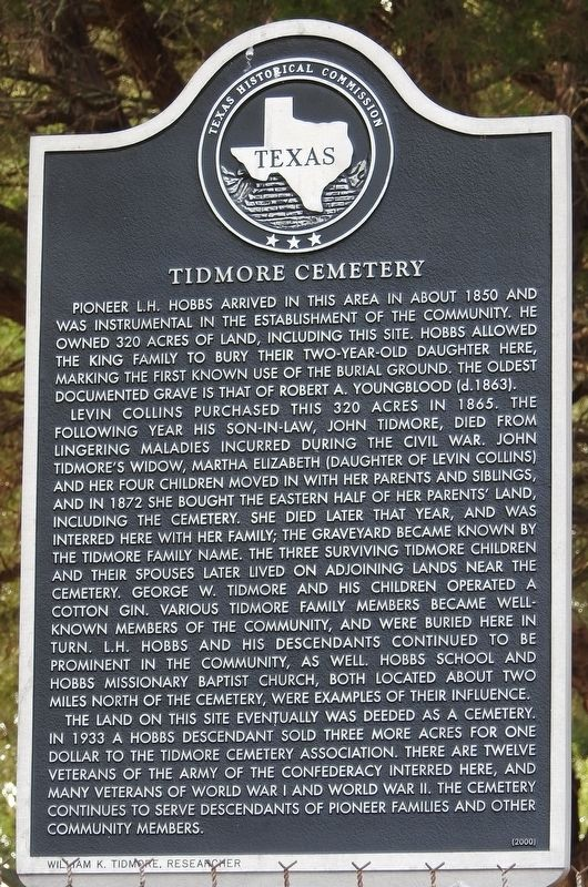 Tidmore Cemetery Texas Historical Marker image. Click for full size.