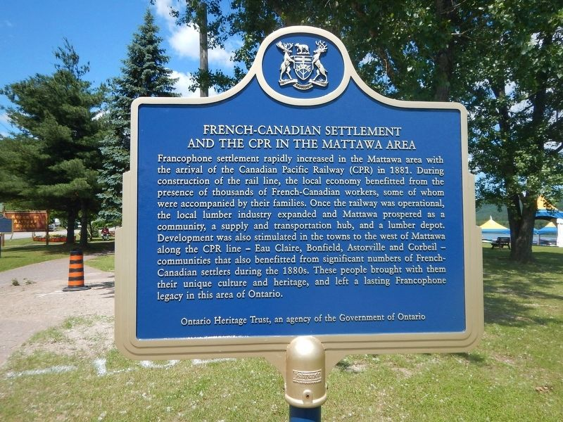 French-Canadian Settlement and the CPR in the Mattawa area Marker image. Click for full size.