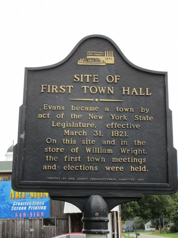 Site of First Town Hall Marker image. Click for full size.