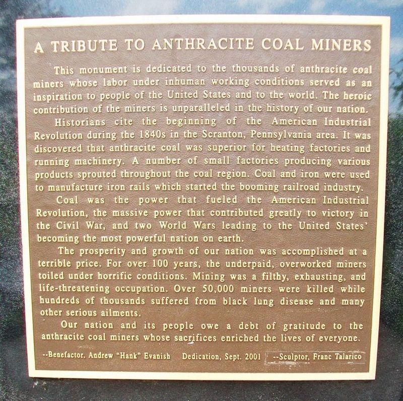 A Tribute to Anthracite Coal Miners Marker image. Click for full size.