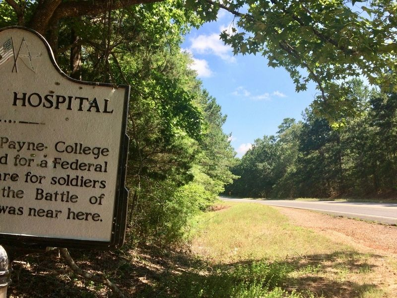 Federal Hospital Marker looking north on Highway 175. image. Click for full size.