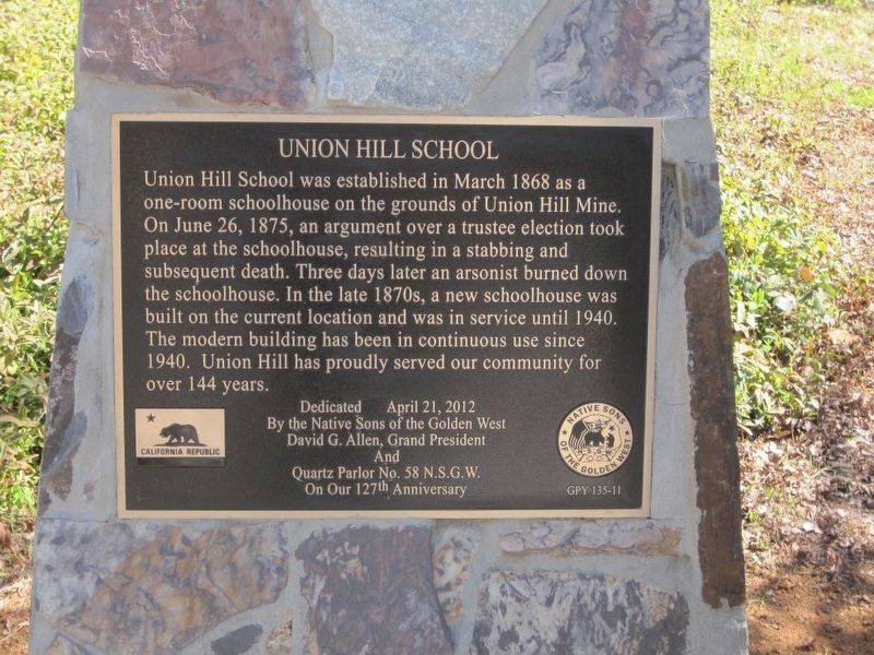Union Hill School Marker image. Click for full size.