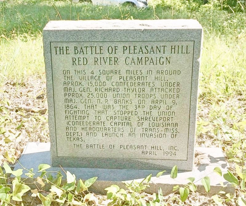 The Battle of Pleasant Hill Monument (Front) image. Click for full size.