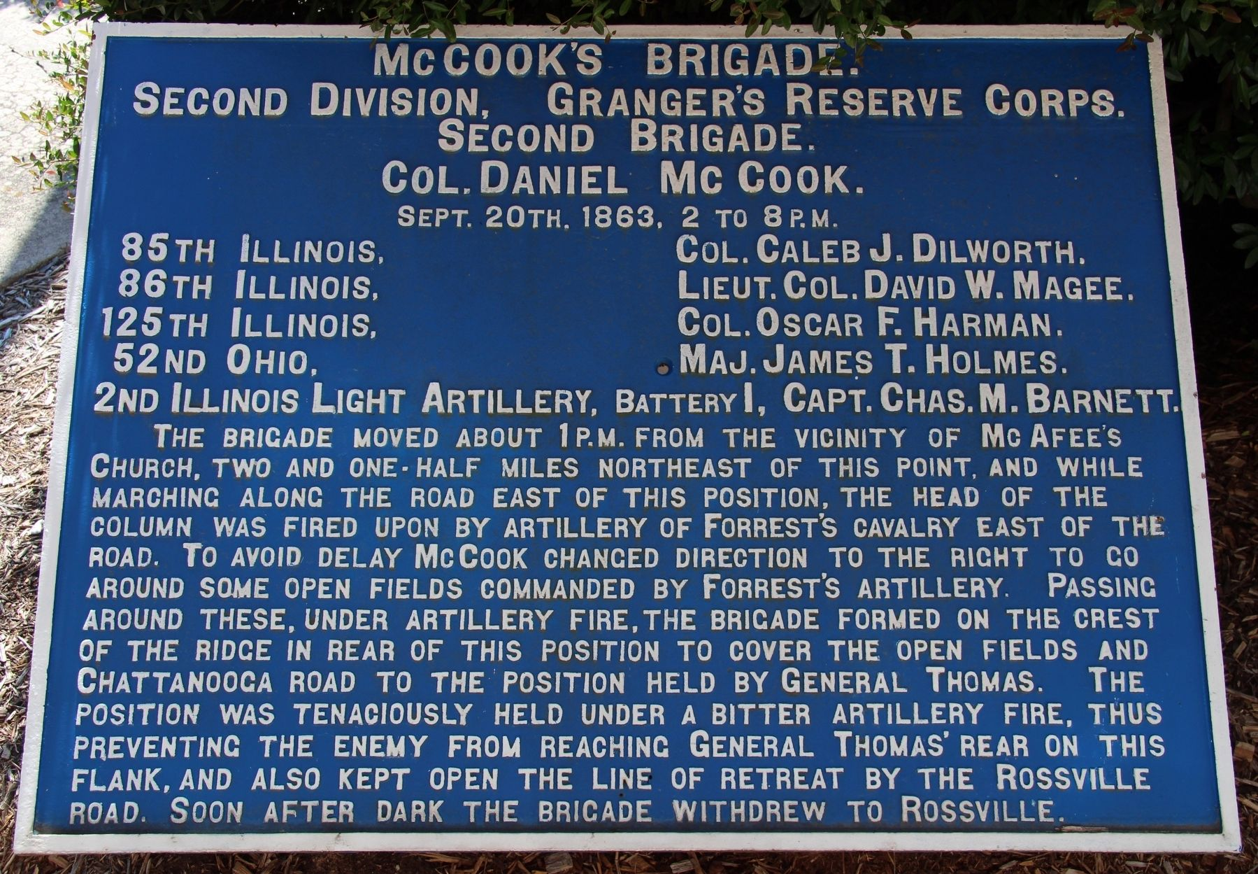 McCook's Brigade Marker image. Click for full size.