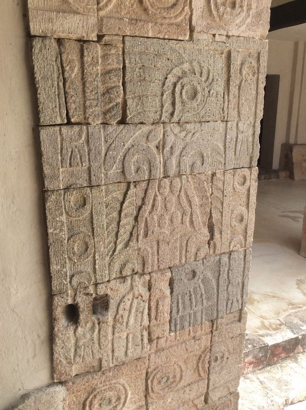 A bas-relief carving of a bird in the Patio of the Pillars image. Click for full size.