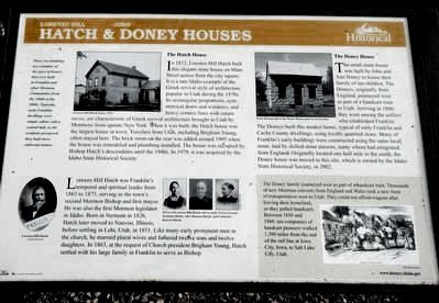 Lorenzo Hill Hatch & John Doney Houses Marker image. Click for full size.