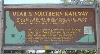 Utah & Northern Railway Marker image. Click for full size.