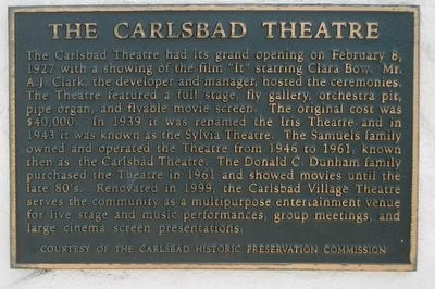 The Carlsbad Theatre Marker image. Click for full size.