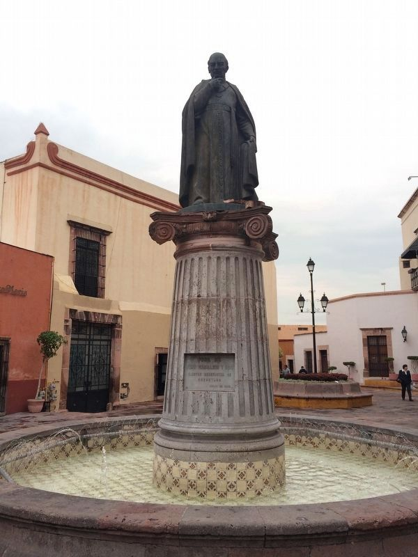 A nearby statue of Juan Caballero y Osio, mentioned in the marker image. Click for full size.