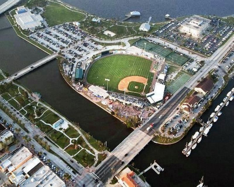 Aerial file photo of Jackie Robinson Ballpark image. Click for full size.