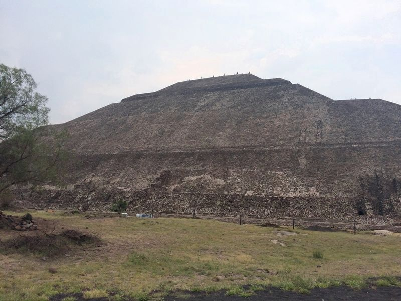 The northern face of the Pyramid of the Sun, seen from near The History of Teotihuacán Marker image. Click for full size.
