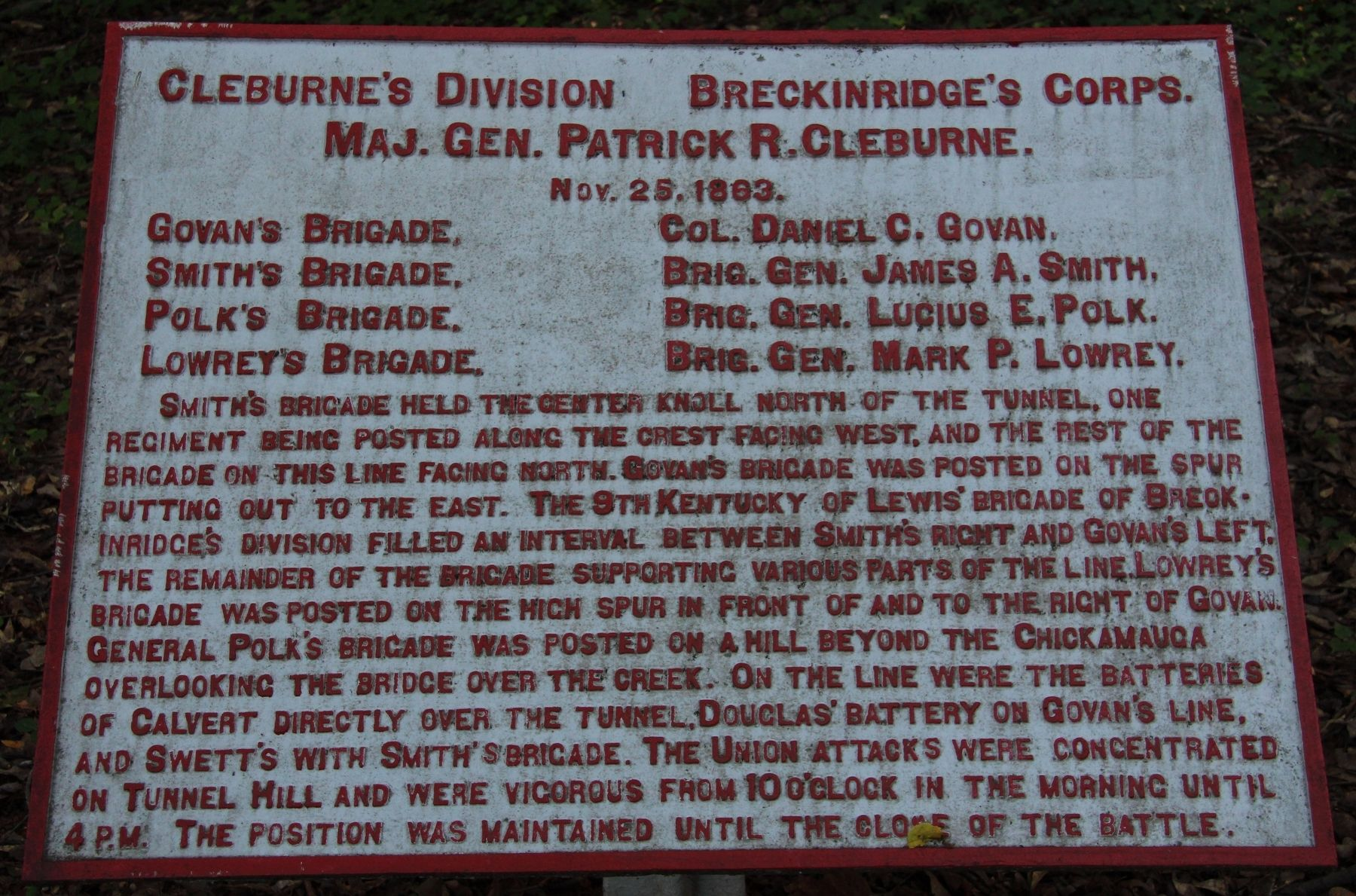 Cleburne's Division Marker image. Click for full size.