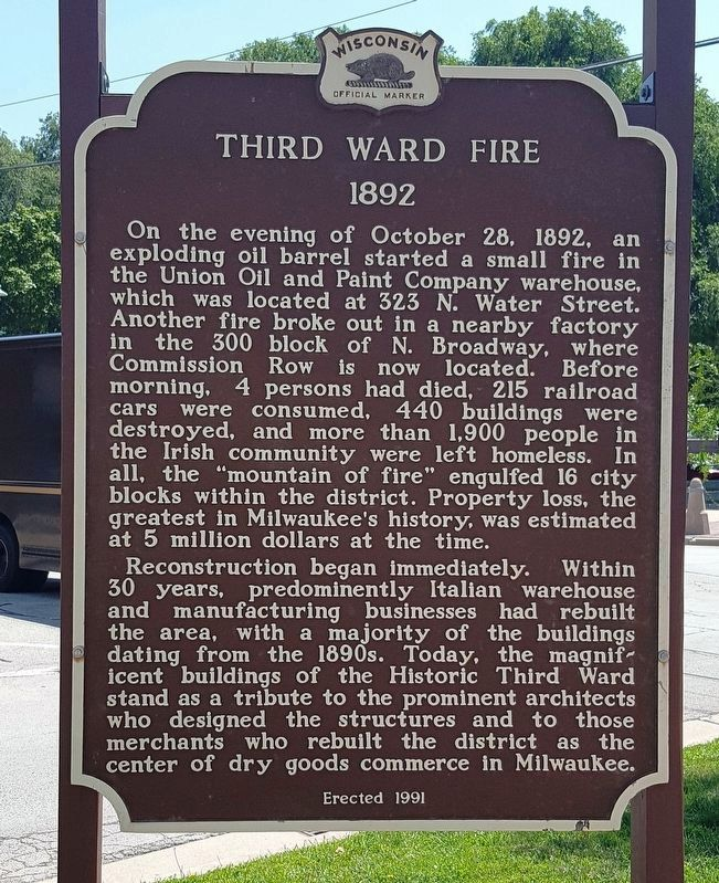 Third Ward Fire Marker image. Click for full size.
