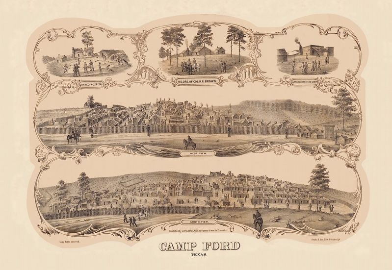 Wood cut engraving of the Camp Ford Prison Camp. image. Click for full size.