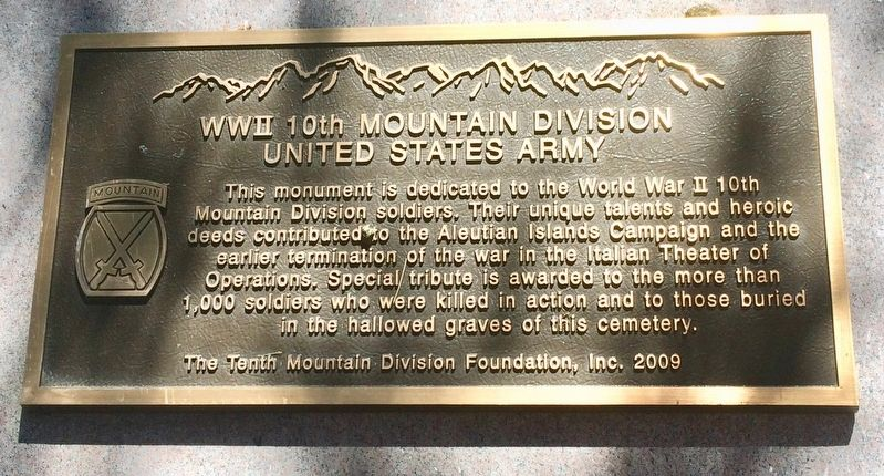 WWII 10th Mountain Division Marker image. Click for full size.