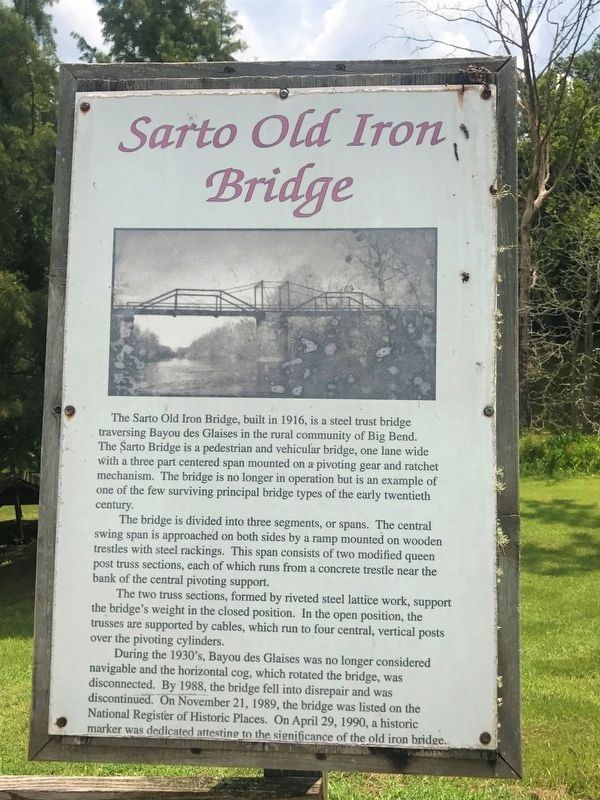 Sarto Old Iron Bridge Marker image. Click for full size.
