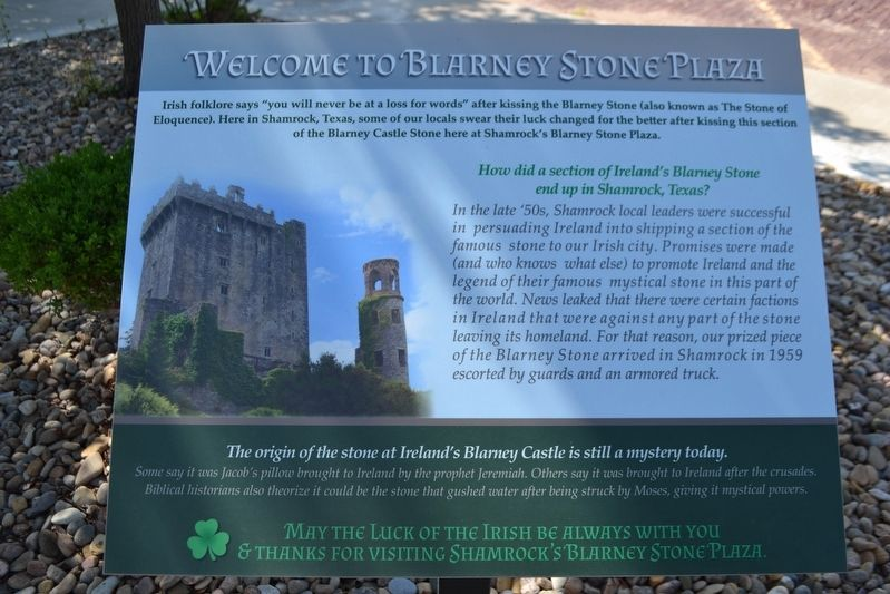 Welcome to Blarney Stone Plaza Marker image. Click for full size.