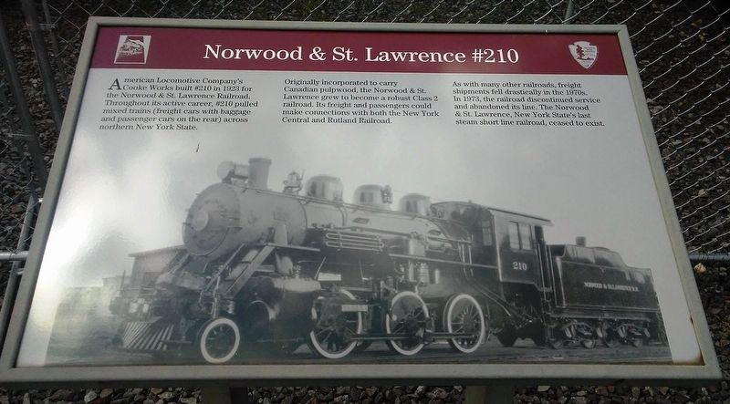 Norwood & St. Lawrence #210 Marker image. Click for full size.