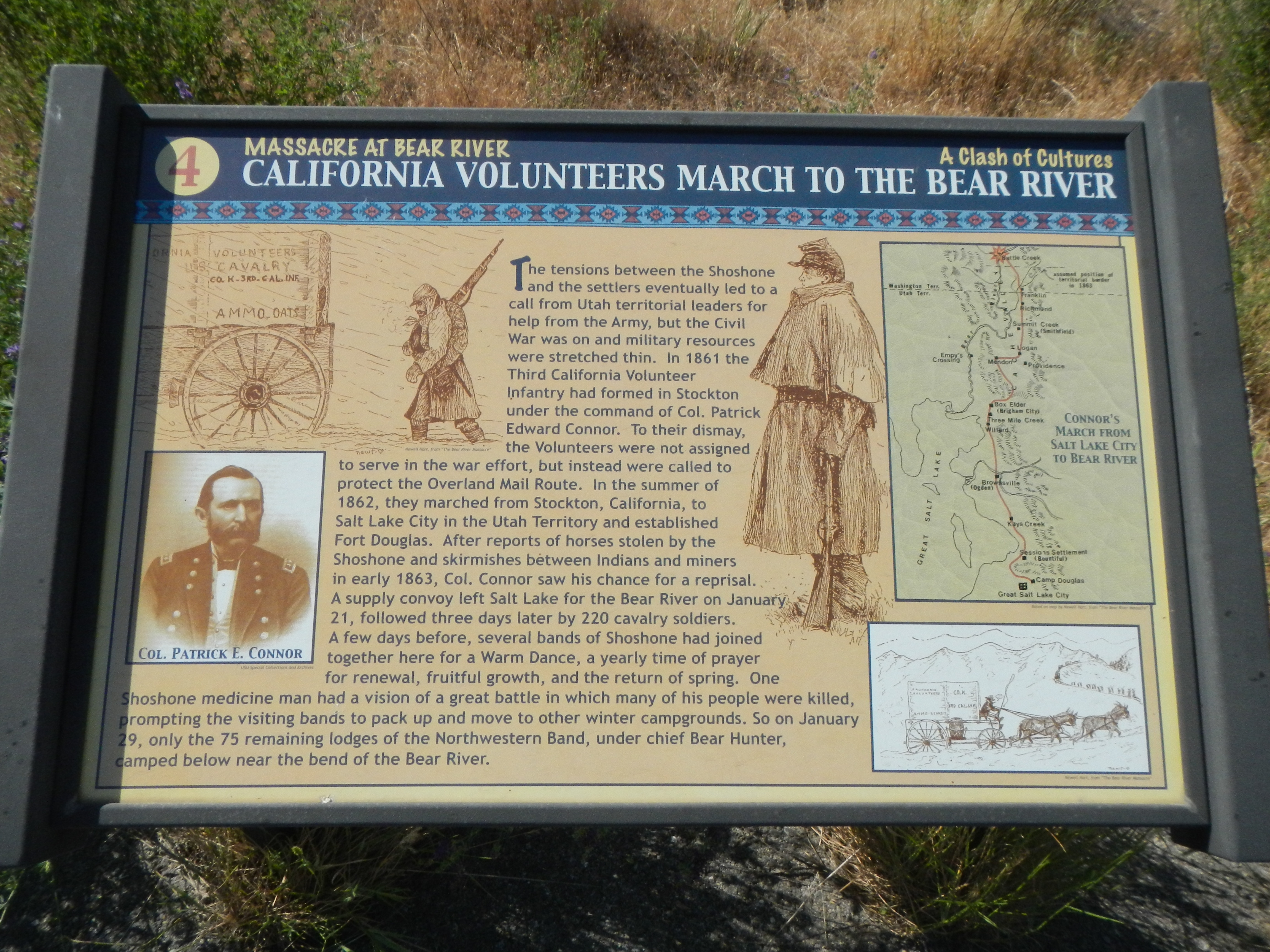 California Volunteers March to the Bear River Marker