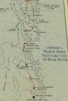 Connor's March from Salt Lake City to Bear River, detail from California Volunteers March Marker image. Click for full size.