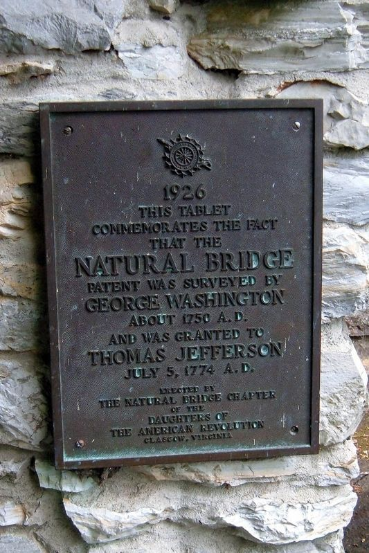 Natural Bridge patent Marker image. Click for full size.