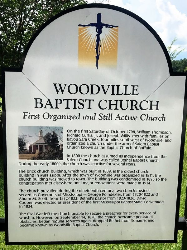 Woodville Baptist Church Marker image. Click for full size.