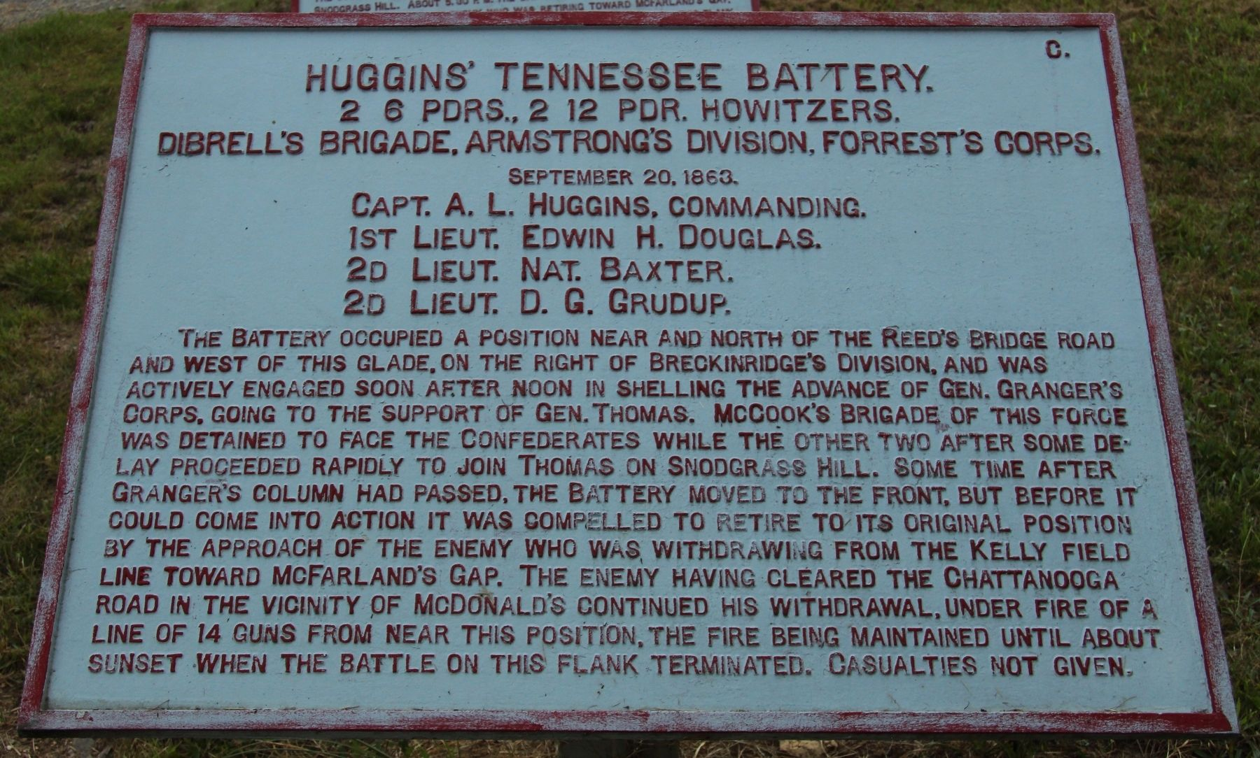 Huggins' Tennessee Battery Marker image. Click for full size.