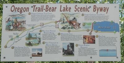 Oregon Trail-Bear Lake Scenic Byway information panel image. Click for full size.