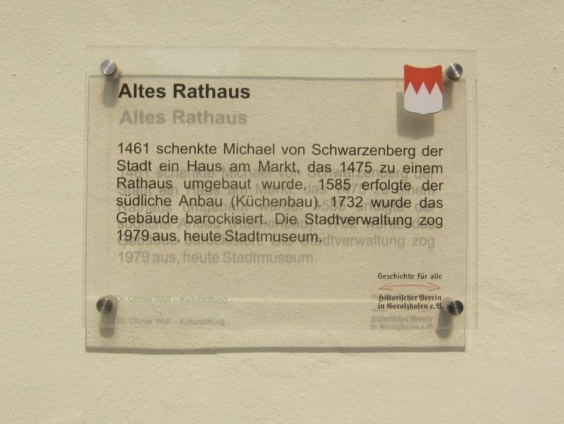 Altes Rathaus / The Old City Hall Marker image. Click for full size.