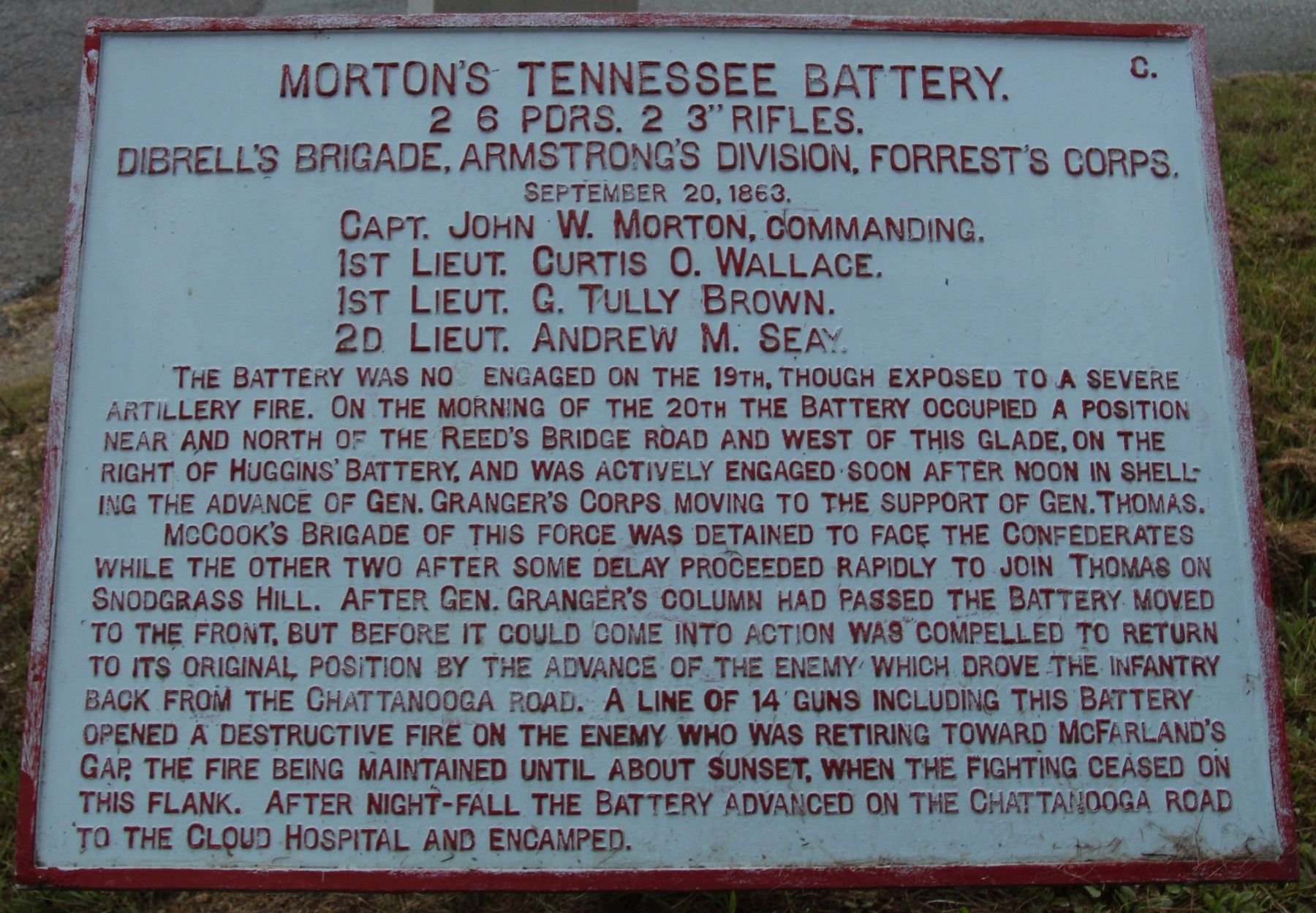 Morton's Tennessee Battery Marker image. Click for full size.