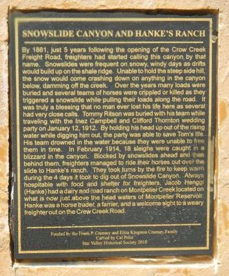 Snowslide Canyon and Hanke's Ranch Marker image. Click for full size.