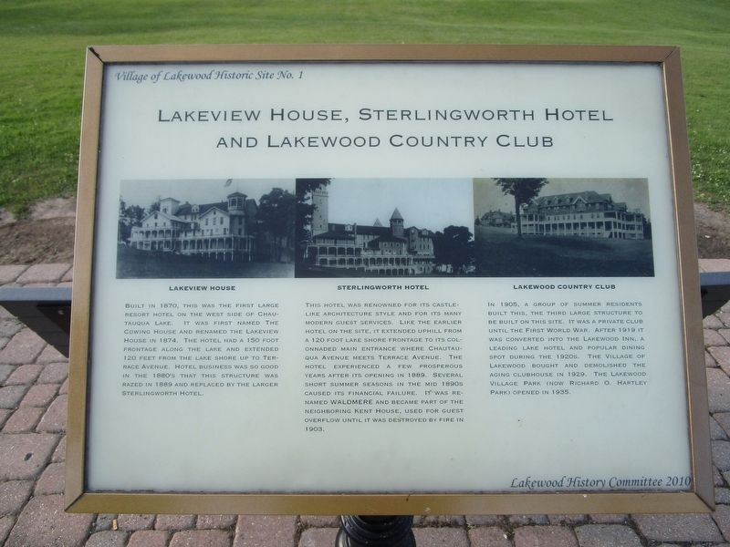 Lakeview House, Sterlingworth Hotel and Lakewood Country Club Marker image. Click for full size.