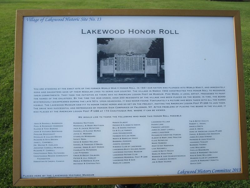 Lakewood Honor Roll Marker image. Click for full size.