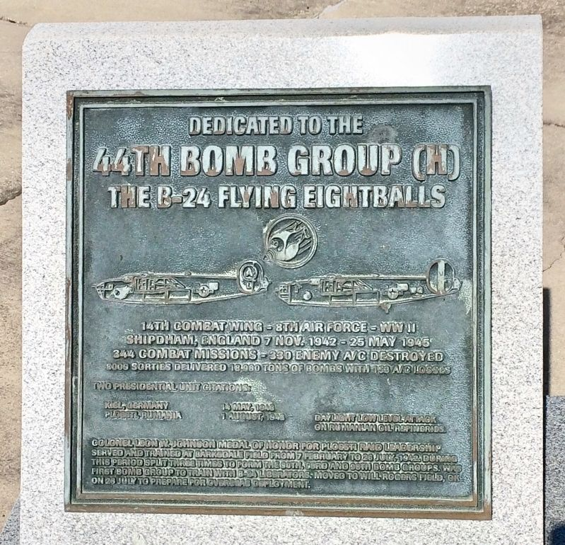 Dedicated to the 44th Bomb Group (H) Marker image. Click for full size.