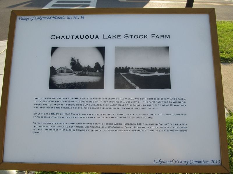 Chautauqua Lake Stock Farm Marker image. Click for full size.