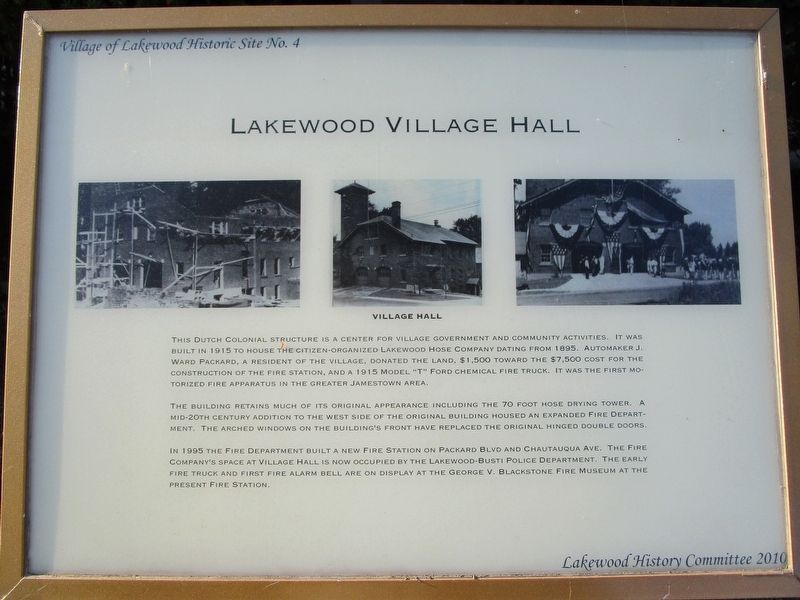 Lakewood Village Hall Marker image. Click for full size.