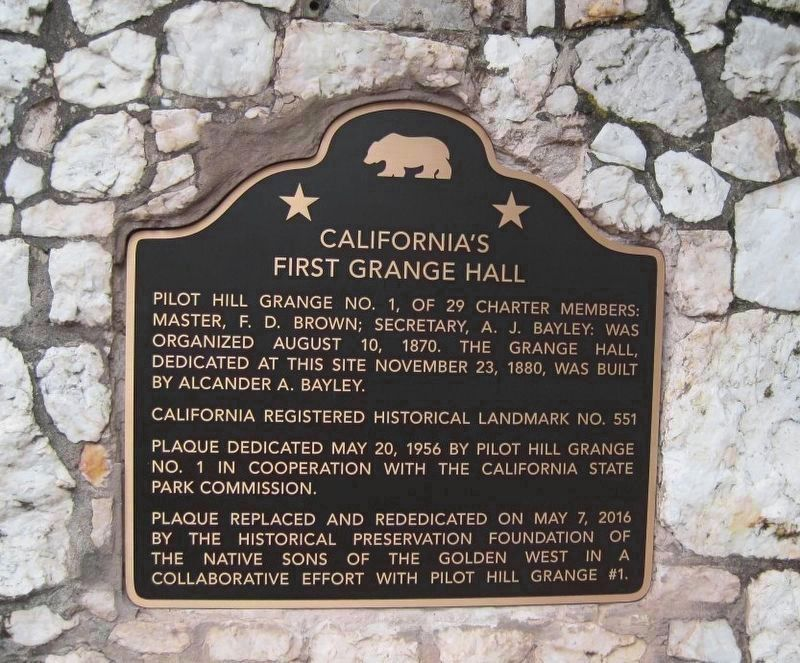 New California's First Grange Hall Marker image. Click for full size.